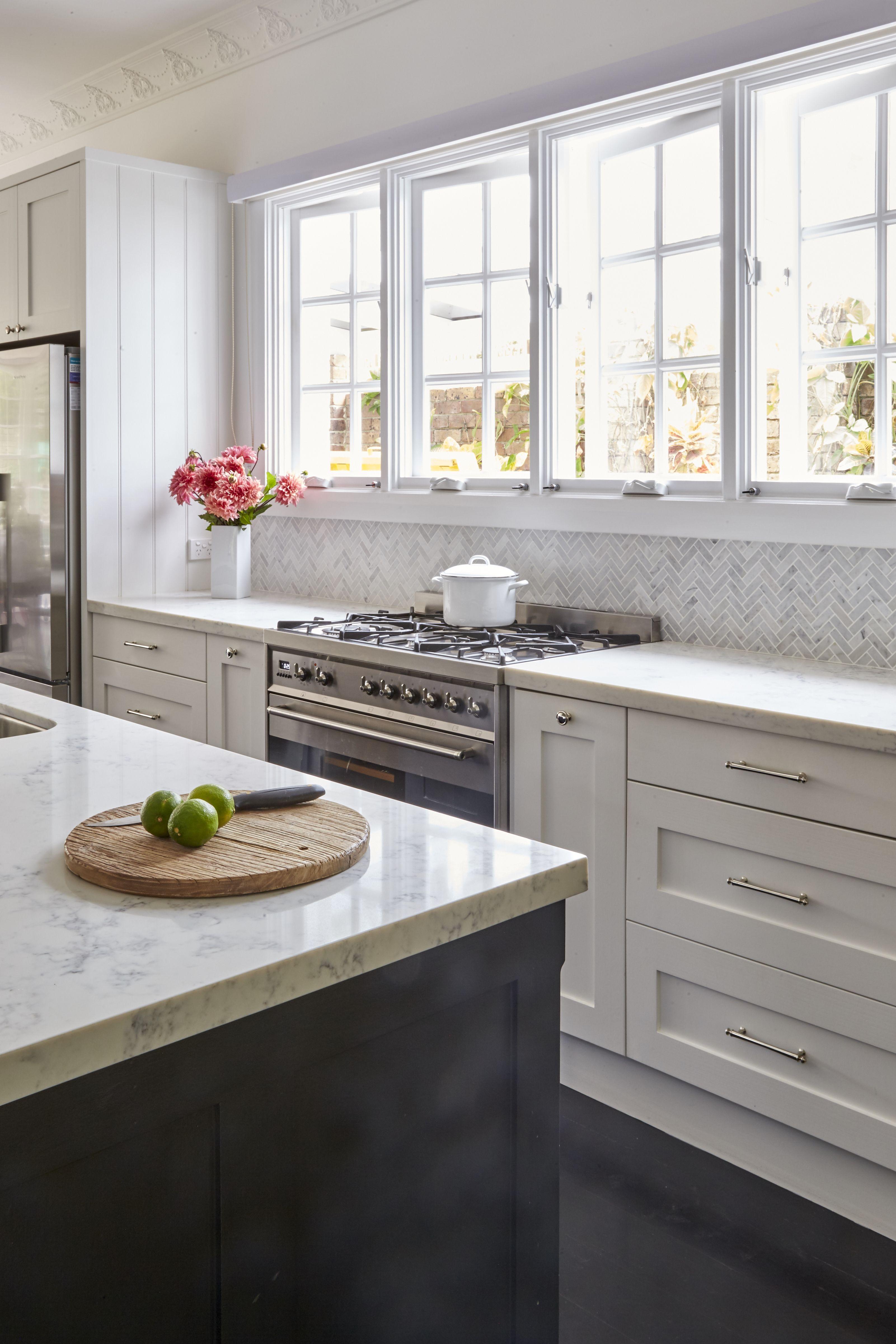 provincial kitchen shaker white grey hamptons style bellevue