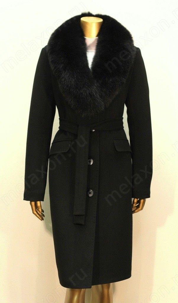 зимнее пальто с меховым воротником женское фото