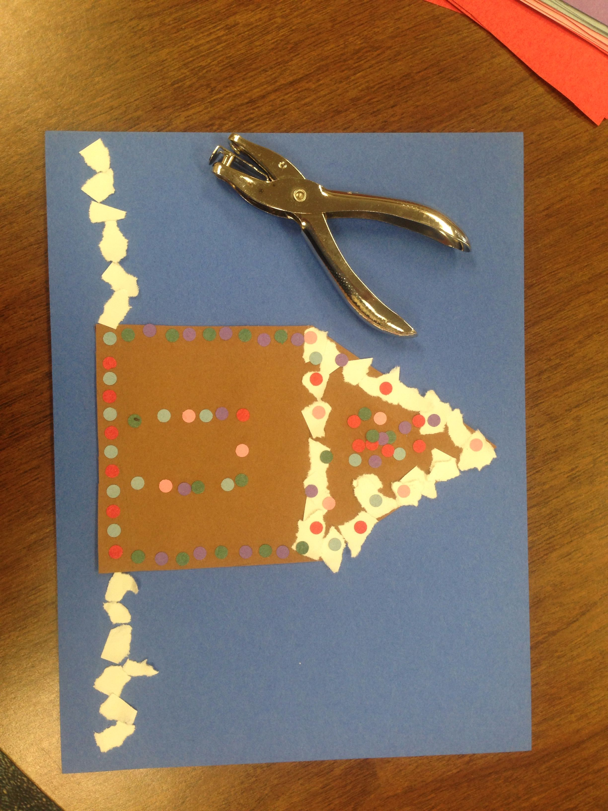Fine Motor Gingerbread House With Paper And Hole Punch