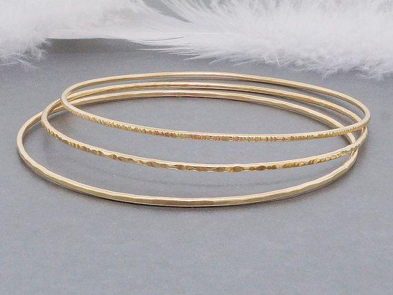 Solid 14k Gold Bangle Bracelets Stacking Bangles Dainty Set Of 3