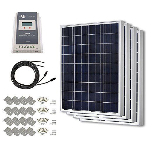 Amazon Com Windynation 400 Watt Solar Kit 4pcs 100 Watt Solar Panels 30a P30l Lcd Pwm Charge Controller Mounting Solar Panels Solar Panel Kits Solar Kit