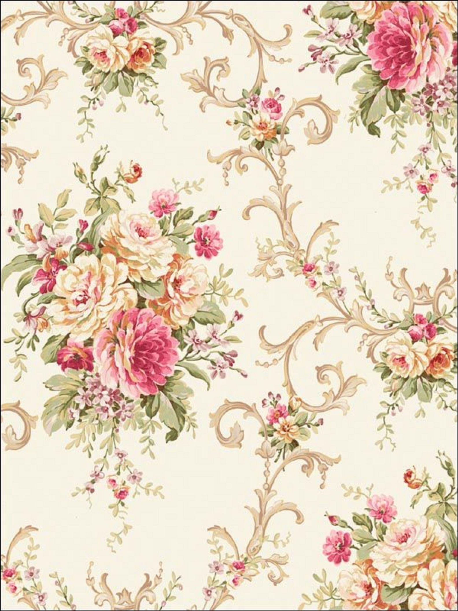 Empapelado floral Vintage Roses, Vintage Diy, Vintage Paper, Number 50, Rose Wallpaper