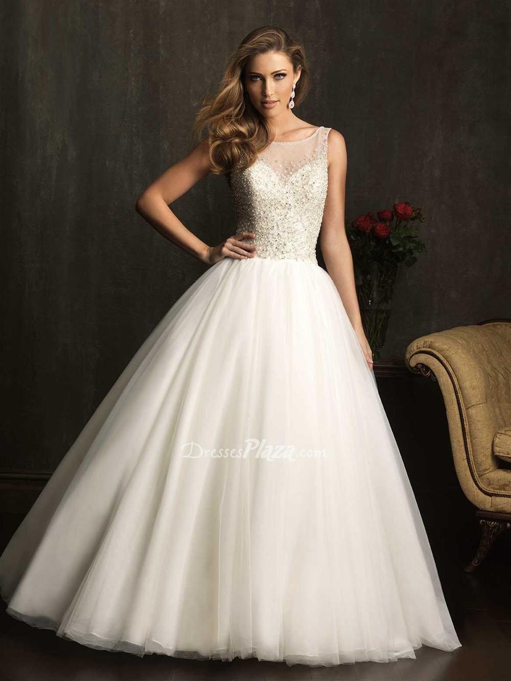 Elaborate Ball Gown Sheer Boat Neck Beaded Bodice Sleeveless Wedding Dress 81700 0ff 338
