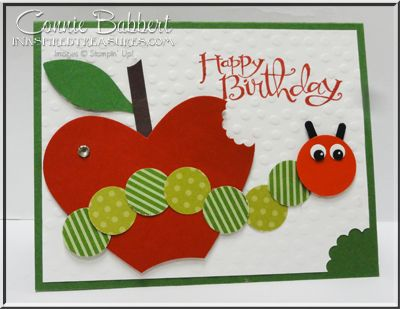 Matching 1st Birthday Card Large Tag For Gift Bag Punch Art Very Hungry Catepillar Stampin Up Stampinup Circle Heart Framelits Oval