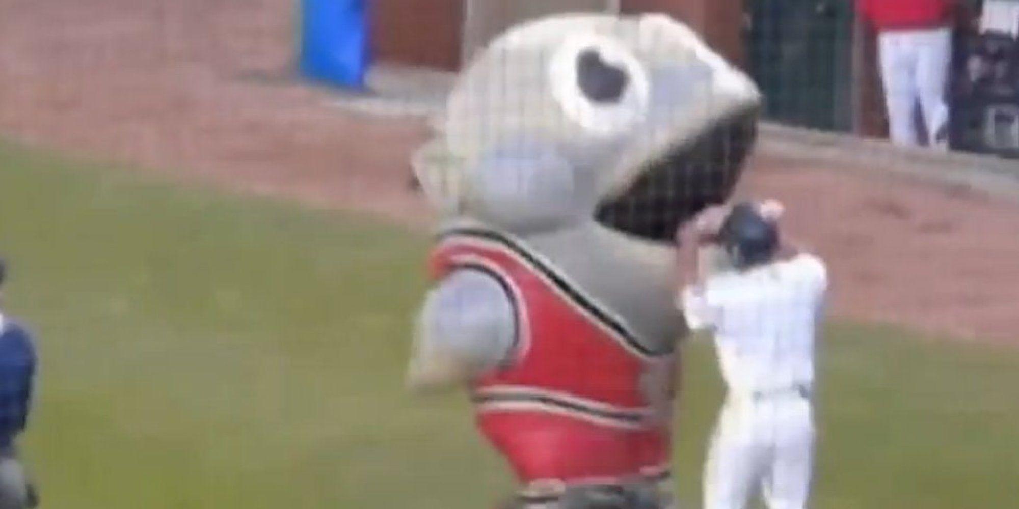 Its just a fish mascot eating a baseball player
