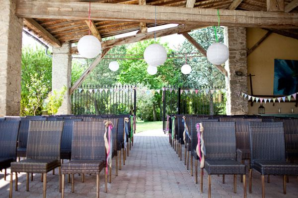 Paper Lanterns above the ceremony space