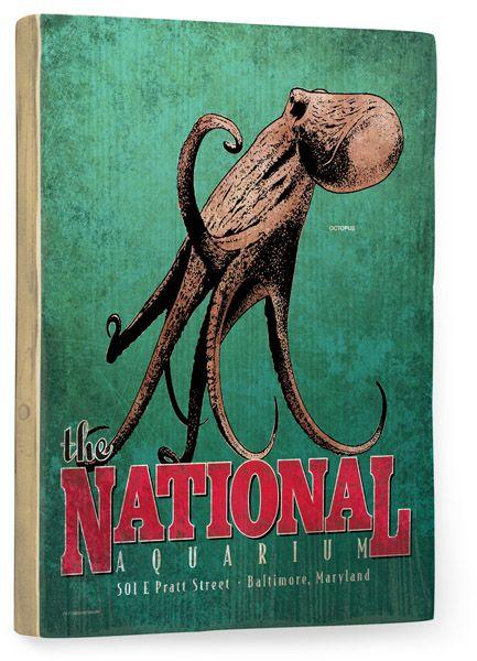 National Aquarium Octopus Vintage Beach Sign Vintage Beach Signs