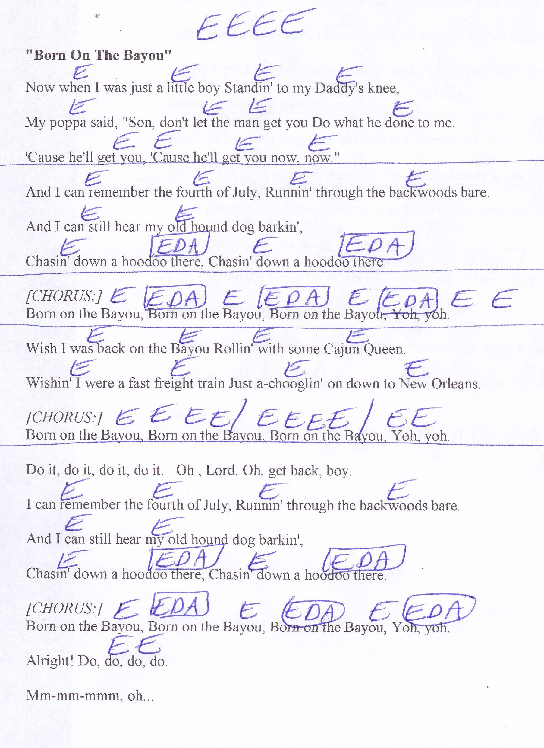 Born On The Bayou Ccr Guitar Chord Chart Lyrics Music
