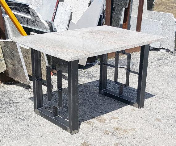 Modern Dining Table Granite Top With Steel Square Legs Granite