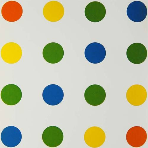 François Morellet,Bleu-Vert-Jaune-Orange, 1954 (A Damien Hirst Spot Painting right down to the spacing, only 32 years earlier) ...