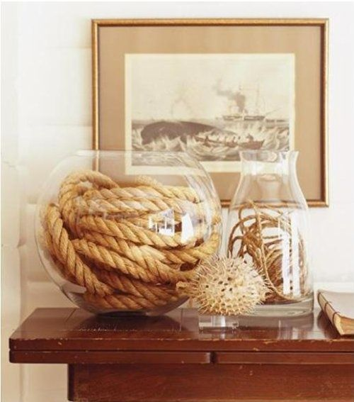 Nautical/Natural Decor - what to do with all my clear glass bowls and vases