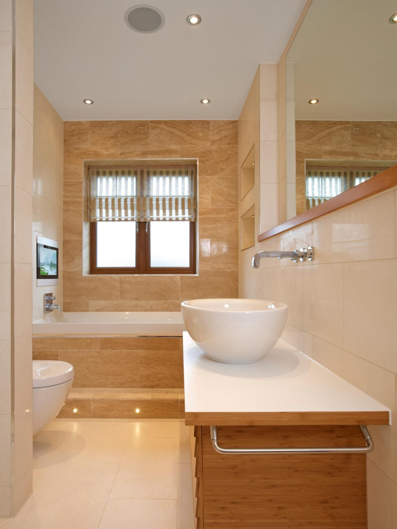 Bring Music Into The Bathroom With A Built In Stereo System And Ceiling Speakers