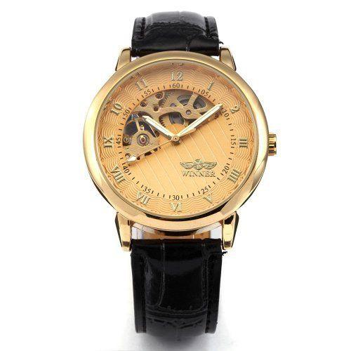 AMPM24 Skeleton Hollow Mens Hand-winding Mechanical Golden Dial Leather Wrist Watch WINNER. $22.04