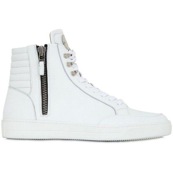 Men Zip-up Leather High Top Sneakers