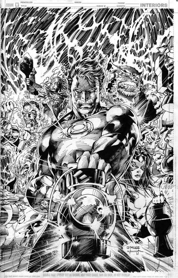 Artes en proceso de Jim Lee para Green Lantern #50 ~ Neoverso