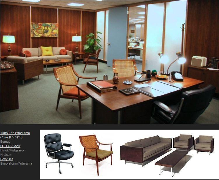 "Mad Men Furniture mad men"" furniture: don draper's office. via http"