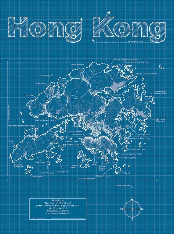 Hong Kong Map Original Artwork Wall Art Birthday Gift Street Wedding Travel