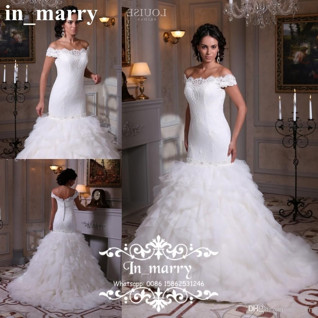 Cascading ruffles plus size lace wedding dresses 2017 for Cascading ruffles wedding dress