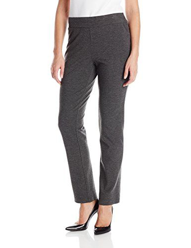 Briggs New York Women's Solid Ponte Knit Slim Leg Pull On Pant, Charcoal, 12 * Click image to review more details.