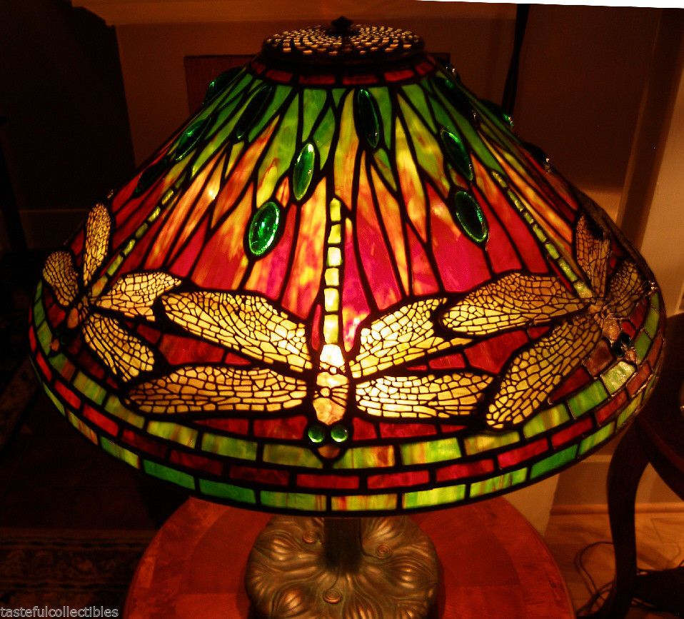 Tiffany Reproduction Stained Glass Lamp Shade 20 Dragonfly Odyssey Pattern Stained Glass Lamps Stained Glass Lamp Shades Glass Lamp