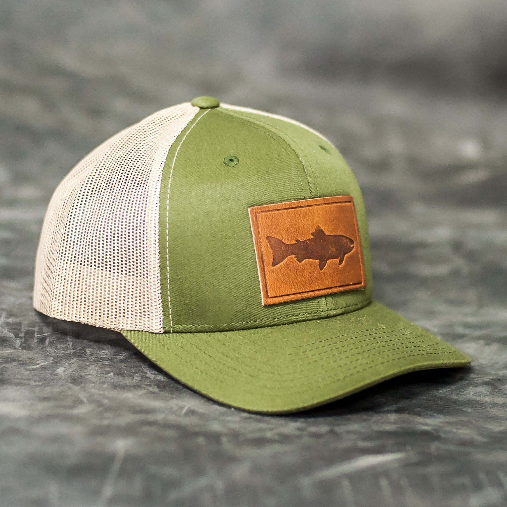 Leather Patch Trucker Style Hats Fish Logo Leather Patches Horween Leather Leather