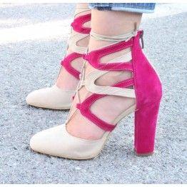 Mega Fuşya Ten Rengi Topuklu Ayakkabı