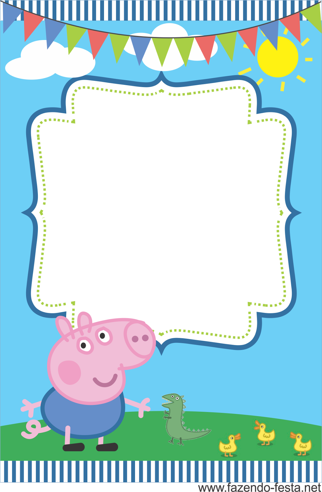 Convites gratuitos da Peppa Pig | George pig, Pig party and Pig ...