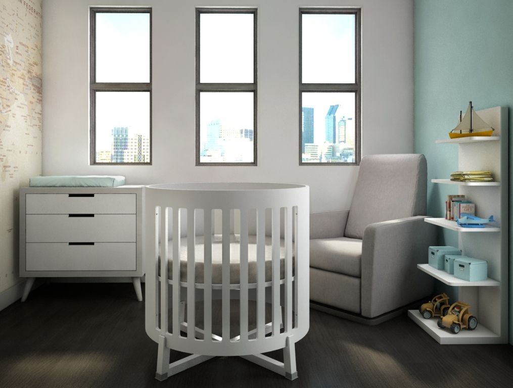 Soren Round Crib Made Of Solid Oak Wood Made In Canada We Ask You Can This Compact Littl Contemporary Bedroom Furniture Nursery Furniture Sets Baby Furniture