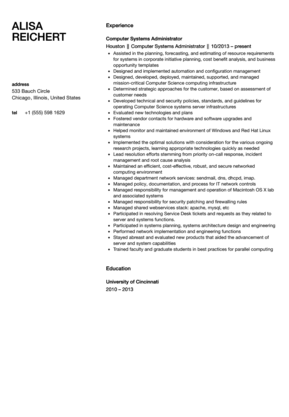 Systems Administrator Resume Computer Systems Administrator Resume Sample  System Administrator