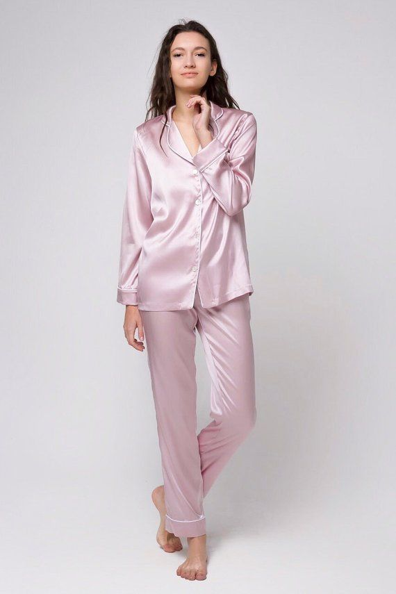 b599f9d90dfc Silk pajama pants Silk long pajama trousers Silk pyjamas bottom Silk  loungewear Pink pajamas Gift fo
