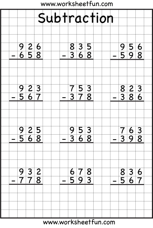 subtraction regrouping | Math worksheets, School worksheets ...