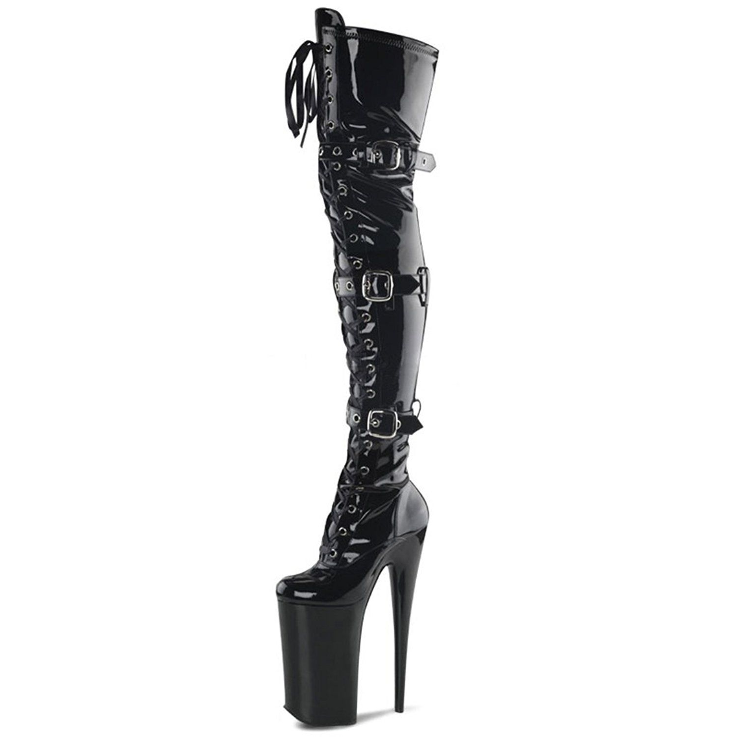 Glossy Black Thigh High Boots with Lace Up Front Buckles and 10 Inch Heels