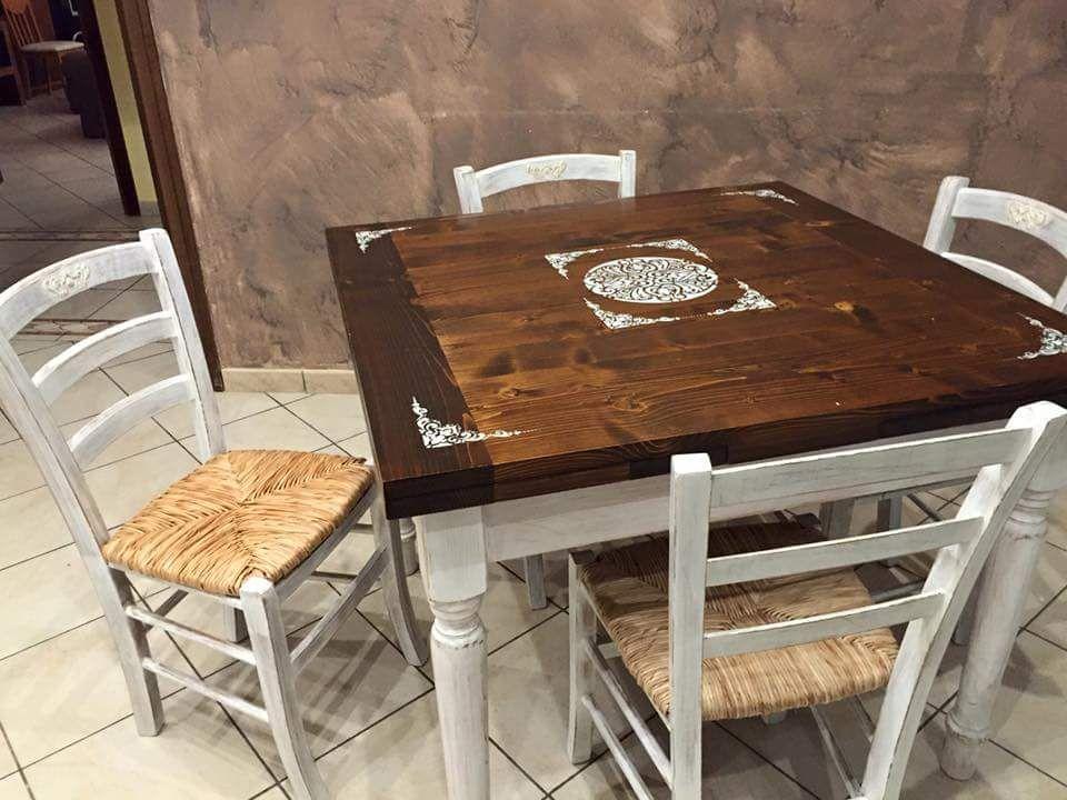 Sedie Decorate Fai Da Te : Tavolo e sedie shabby decorate con stencil #adamas #decor #handmade