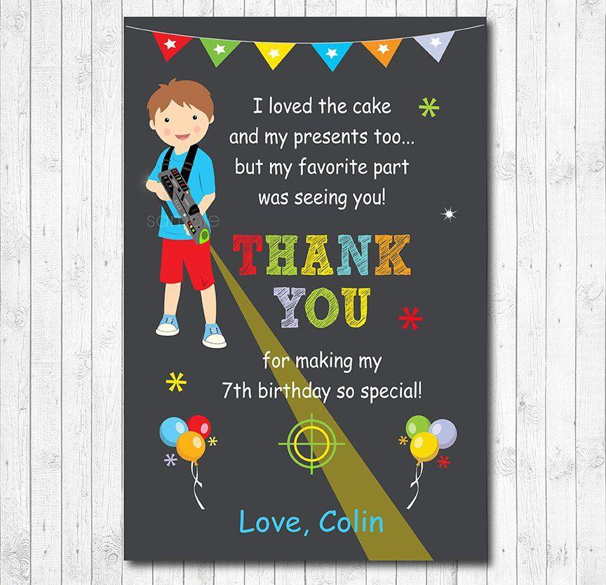 Laser Tag Birthday Thank You Card Boys Birthday Digital Etsy Birthday Thank You Cards Laser Tag Birthday Birthday Thank You