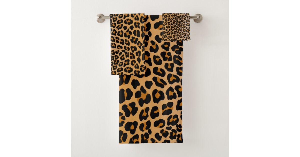 Leopard Bath Towel Set Zazzle Com Towel Set Bath Towels Bath
