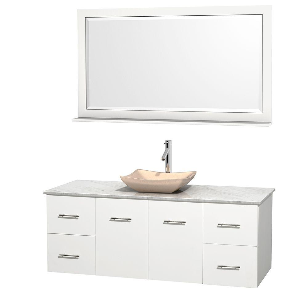 Wyndham Collection Centra 60 In Vanity In White With Marble