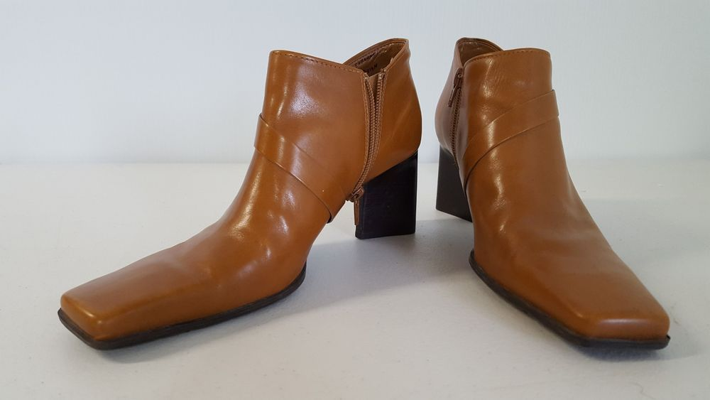 ef2a733f724 Enzo Angiolini Ankle Boots Ladies Size 8.5 M Brown Leather 3 Inch ...
