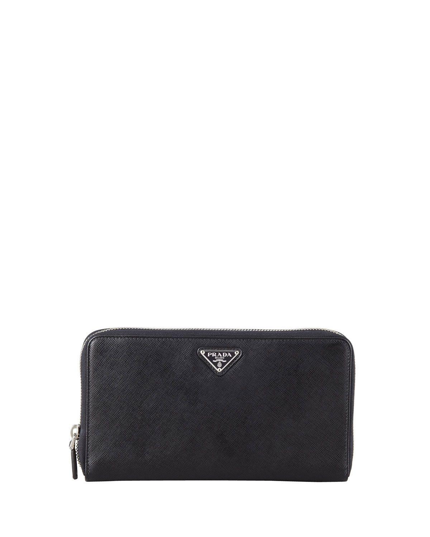 722246935abb Prada Saffiano Triangle Zip-Around Wallet, Black (Nero) | *Handbags ...
