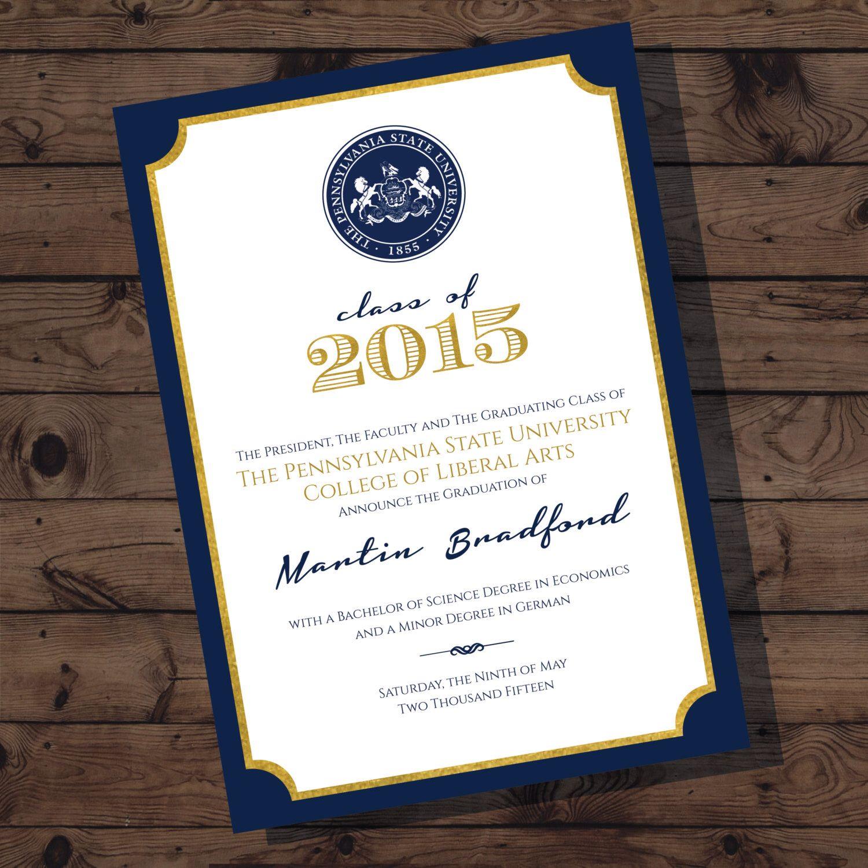 Penn State Graduation Announcement | College Graduation | Digital ...
