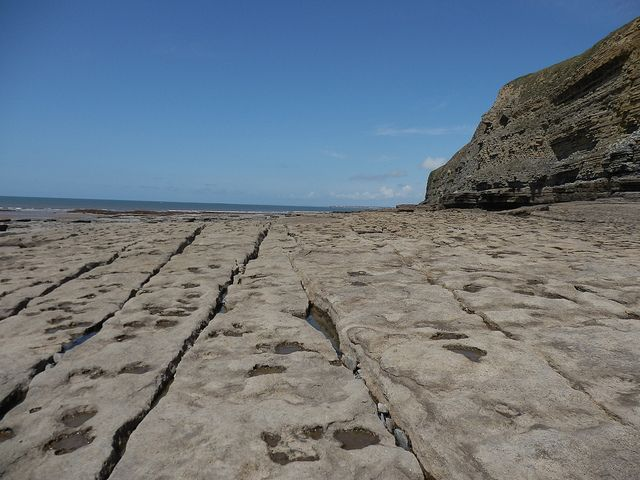 Rocks at the base of the cliffs at Southerndown Beach, Bridgend,Wales