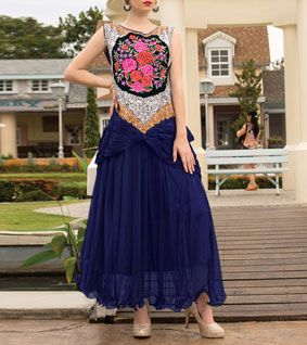Navy Blue Embroidered Soft Net Gown
