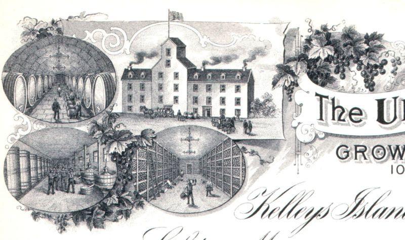RARE 1900 KELLEYS ISLAND OHIO WINERY BILLHEAD w 5 WINE VIGNETTES! RETAIL VAL $60 | eBay