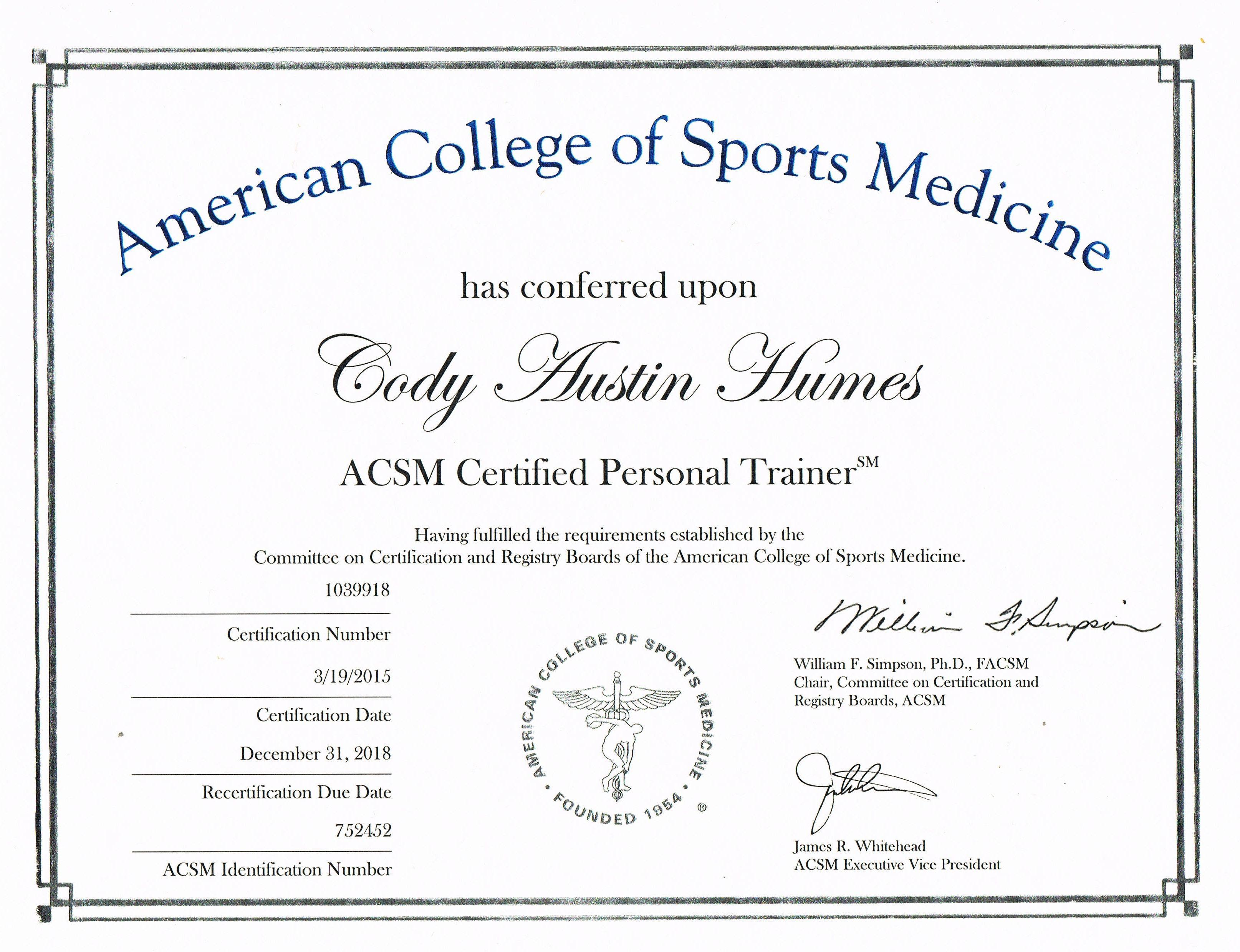 acsm certification trainer save medicine