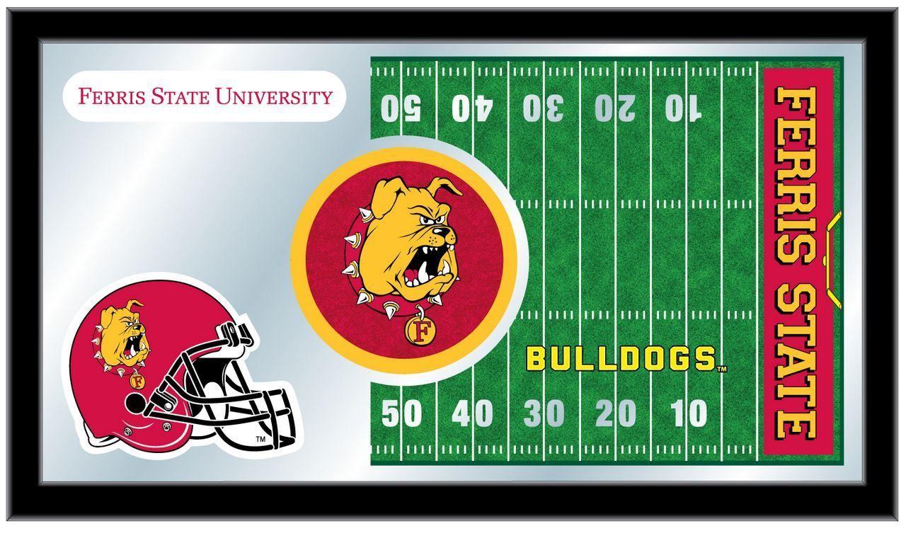 Ferris State Bulldogs Hbs Football Framed Hanging Glass Wall
