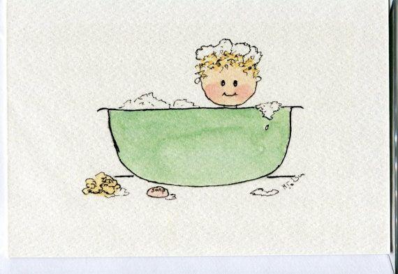 No 55  - Baby card- bathtime baby-handmade -from original watercolour painting-birth congratulations-birthday-blank
