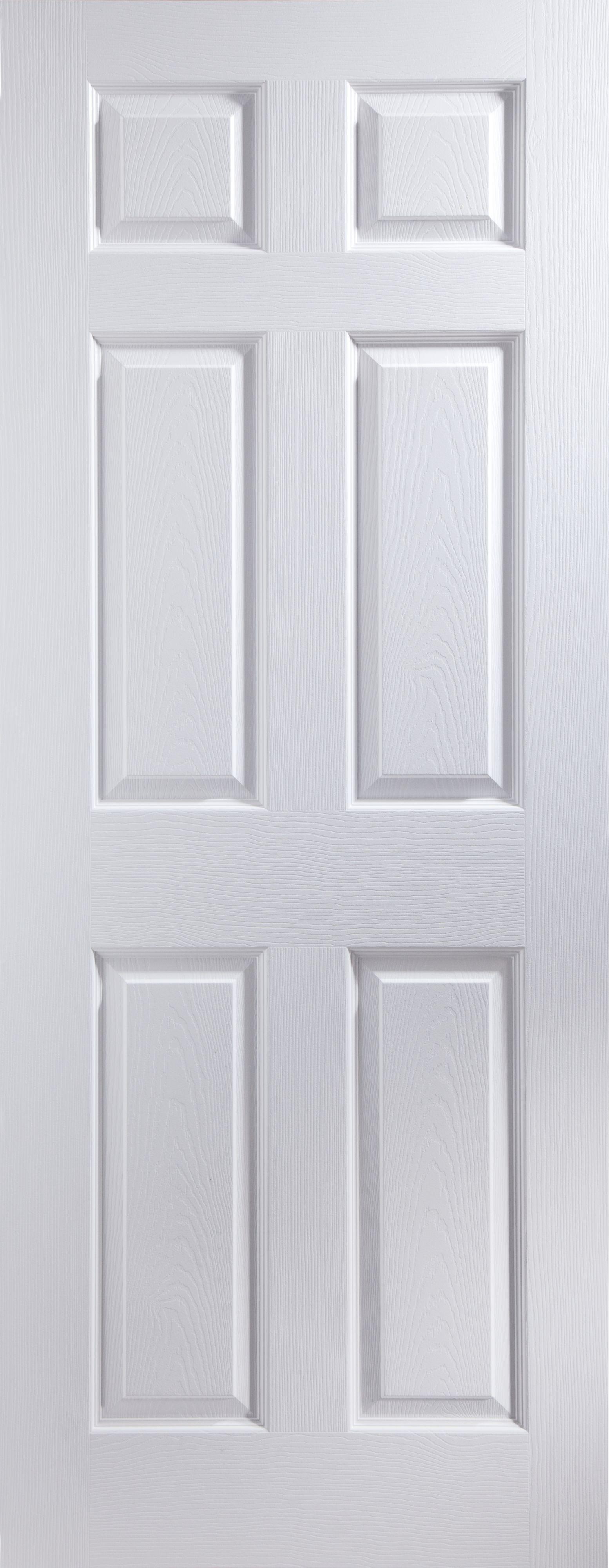 6 Panel White Woodgrain Unglazed Door Kit, (H)2040mm (W)826mm