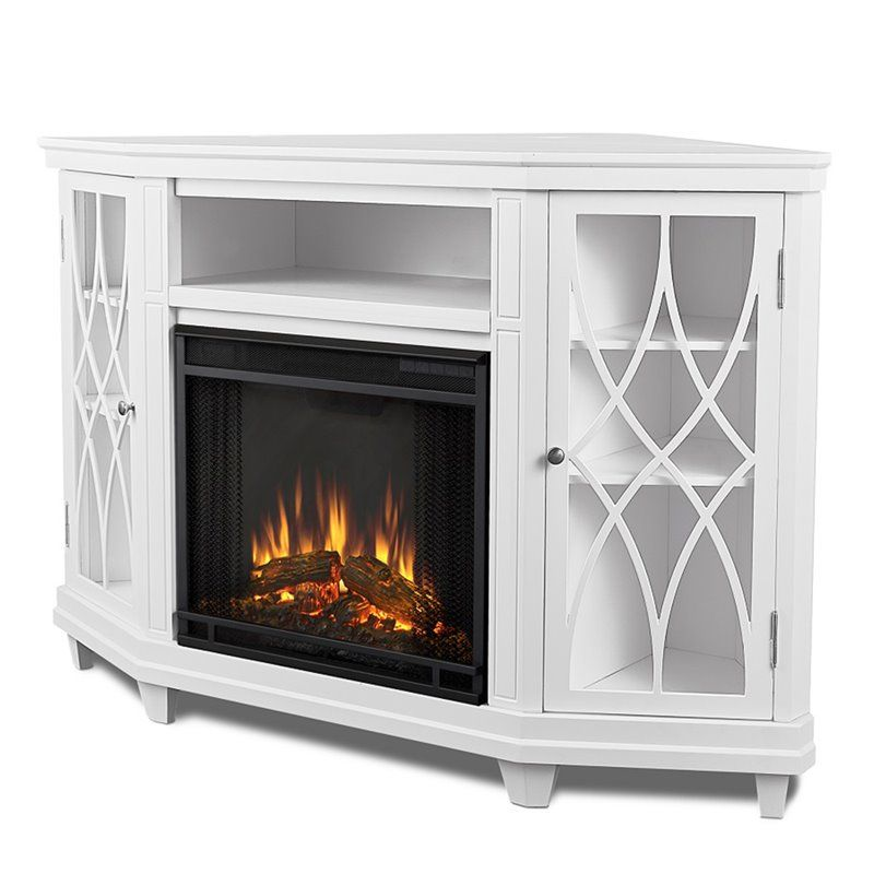 Real Flame Lynette Corner Fireplace Tv Stand In White Corner