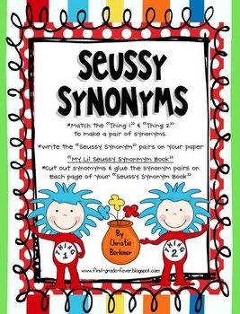 Ready For Some Seussy Synonym Fun Help Thing 1 Thing 2 Match The Synonyms In This Super Fun Lil Center My Lil Dr Seuss Activities Dr Seuss Week Seuss