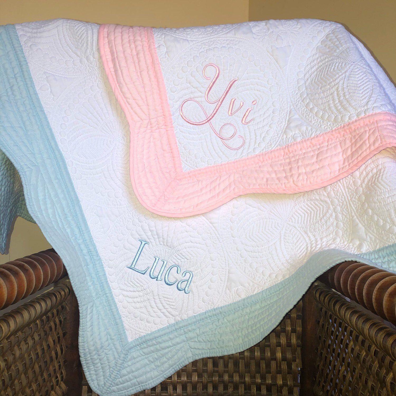 Personalized Baby Boy Baptism Heirloom Quilt Blanket Personalized Baby Boy Cross Quilt Baby Boy Heirloom Keepsake Gift
