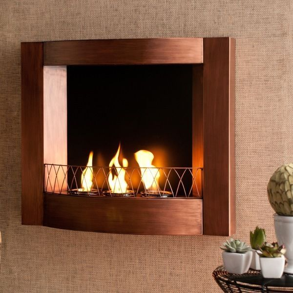 Indoor Copper Fireplace Metal Fire Pit Wall Mounted Living ... on Living Room Fire Pit id=16688
